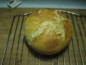 Loaf of bread fresh from oven