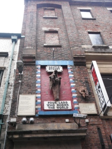 A plaque overlooking Mathew Street.