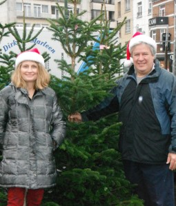 Mike and I pose in our annual Christmas tree photo.